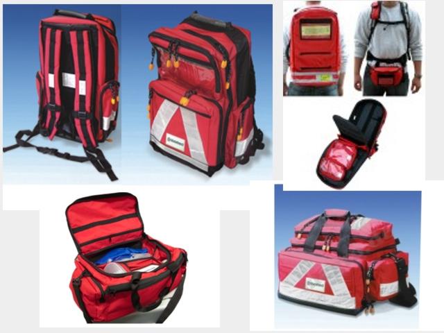 Notfalltasche, Notfallrucksack, Sanitätsrucksack, Ampullarium, Intubationstasche, Sauerstoffflaschenhalterung