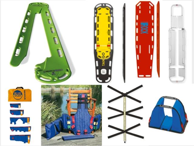 Immobilisation und Transport, Spineboard, Schaufeltrage, Rettungstuch, Vakuummatratze, Halskrause