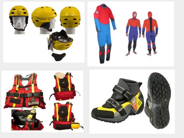 Wasserretterausrüstung, Auftriebsweste, Wurfsack, Sicherungsleine, Kopfschutzhelm, Sicherheitsleine