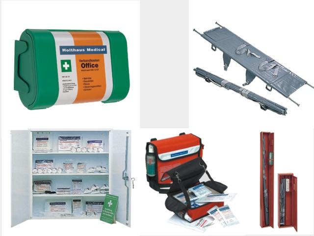 Erste Hilfeausrüstung & Sanitätsmaterial, Erste Hilfe Koffer, Sanitätskoffer, Sanitätsausrüstung, Verbandschrank, Krankentrage