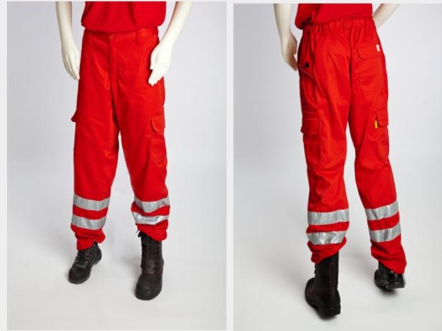 Herrenhose, Arbeitshose, Rettungsdiensthose, Einsatzhose, rot , mit Reflexstreifen
