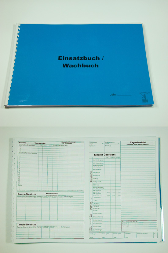 Wachbuch, Tagebuch, Einsatztagebuch, Formularbuch
