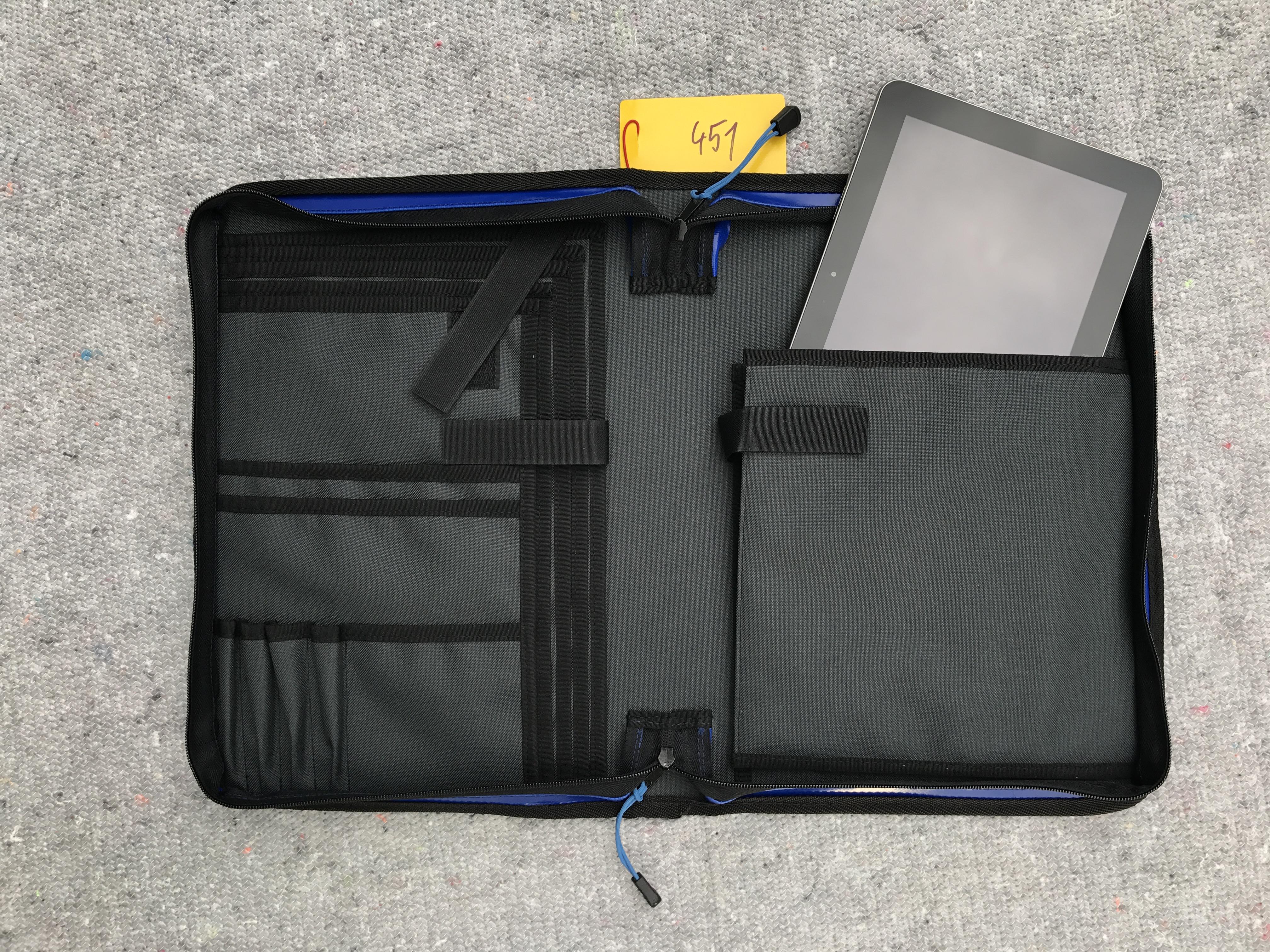 Tablettasche, Tabletorganizer, Dokumententasche, Einsatzleitertasche, Organizer, DIN A4, ca. 5cm Rückenbreite, blau