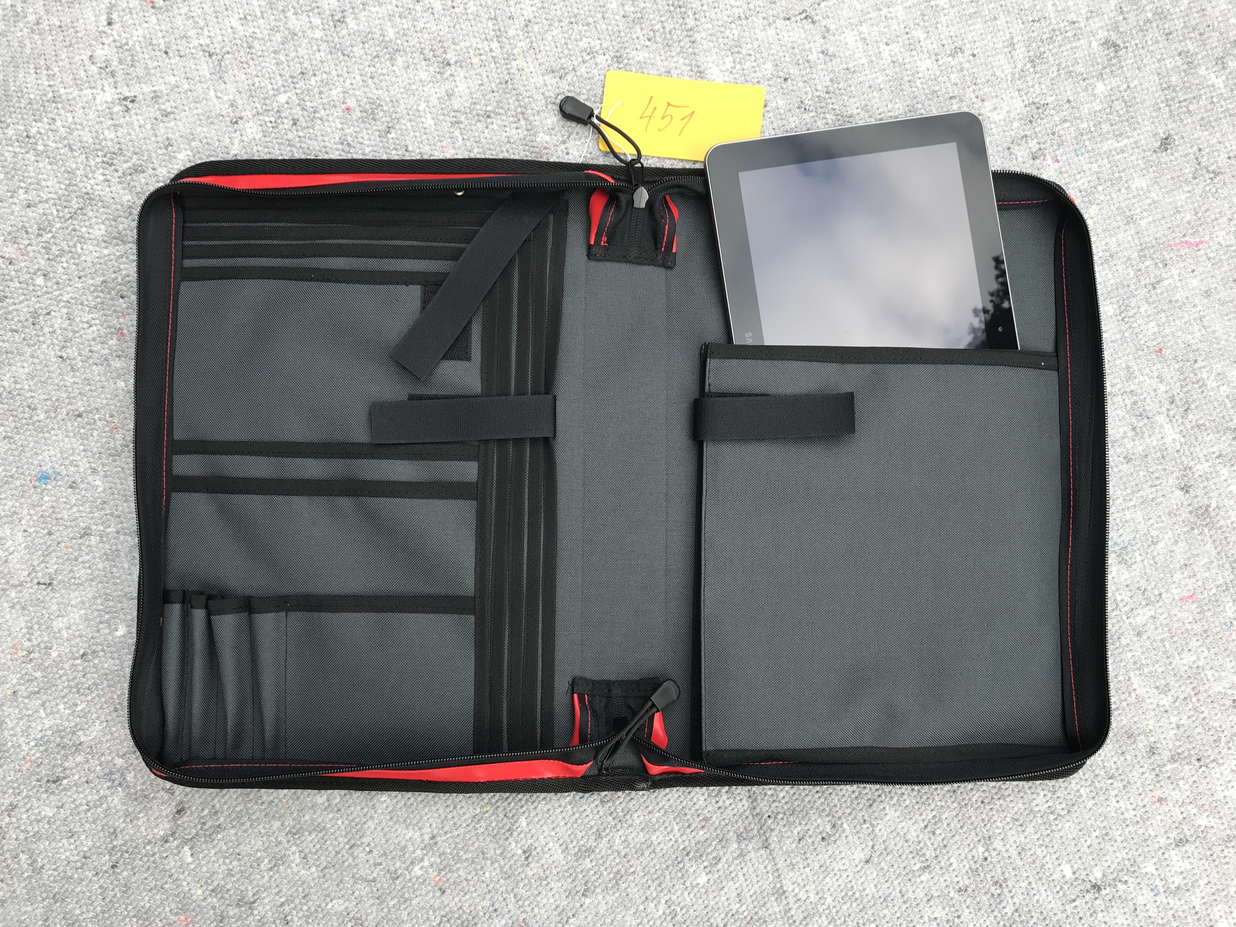 Tablettasche, Tabletorganizer, Dokumententasche, Einsatzleitertasche, Organizer, DIN A4, ca. 5cm Rückenbreite, rot