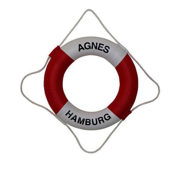 Rettungsring, weiß/rot, 73x46x10,5cm, 22 daN, Sportschiffahrt, Kunststoffbezug, Greifleine
