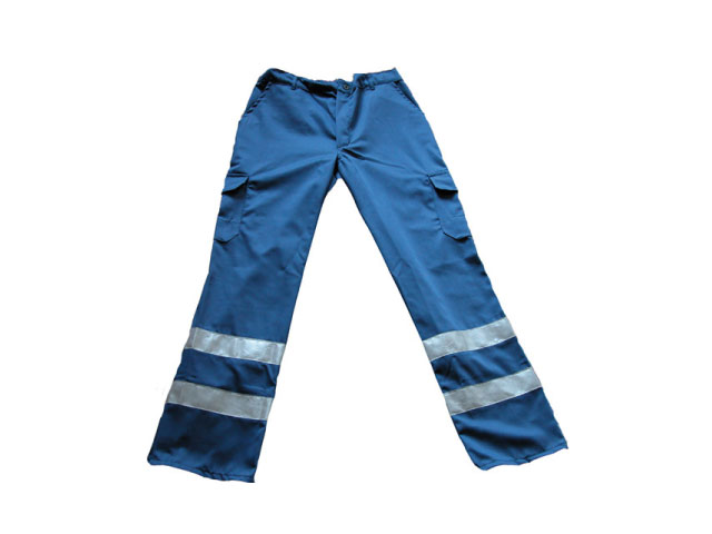 Herrenhose, Einsatzhose, Rettungsdiensthose, Arbeitshose, blau mit Silberreflexstreifen