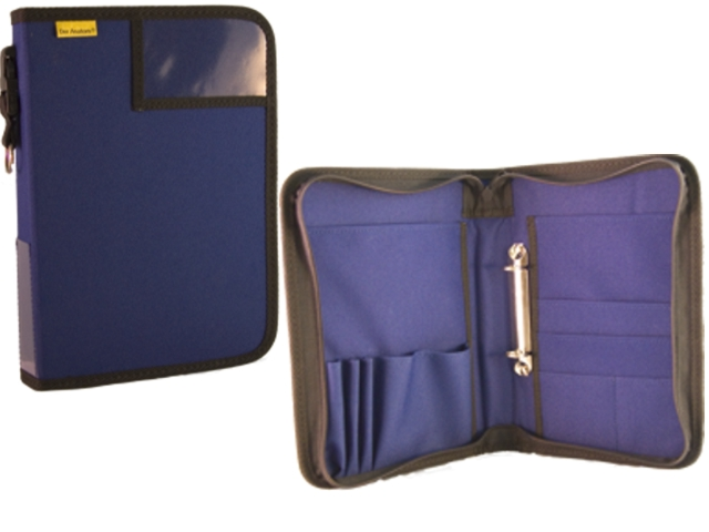 Dokumententasche, Fahrtenbuchtasche, Organizer, DIN A5, Hochformat, blau