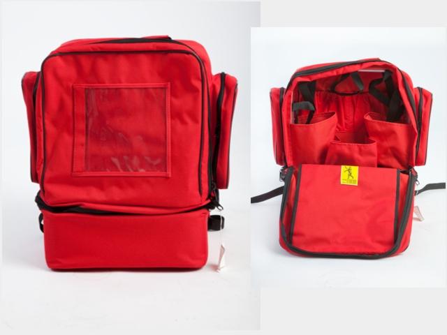 Notfallrucksack - Sanitätsdienst, rot, leer, wasserabweisend, ca.36x46x24cm,