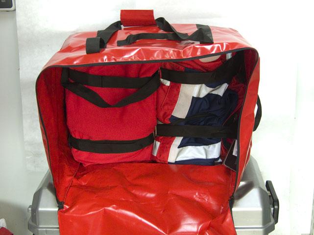 Materialrucksack, Rucksack-/Taschenkombination; Einsatztasche Wasserrettung, Deckentasche, Materialtasche, Bootstasche, Bootsrucksack