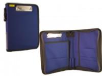 Dokumententasche, Fahrtenbuchtasche, Organizer, DIN A5, Hochformat, 2 Klemmbügel, blau